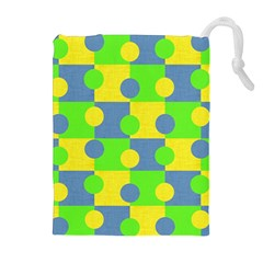 Abric Cotton Bright Blue Lime Drawstring Pouches (extra Large) by Simbadda