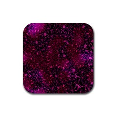 Retro Flower Pattern Design Batik Rubber Square Coaster (4 Pack)  by Simbadda