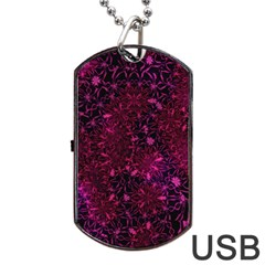 Retro Flower Pattern Design Batik Dog Tag Usb Flash (two Sides) by Simbadda
