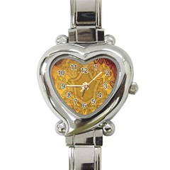 Vintage Scrapbook Old Ancient Retro Pattern Heart Italian Charm Watch by Simbadda