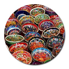 Art Background Bowl Ceramic Color Round Mousepads by Simbadda