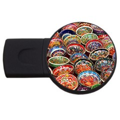 Art Background Bowl Ceramic Color Usb Flash Drive Round (2 Gb) by Simbadda