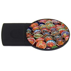 Art Background Bowl Ceramic Color Usb Flash Drive Oval (4 Gb) by Simbadda