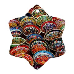 Art Background Bowl Ceramic Color Snowflake Ornament (two Sides)