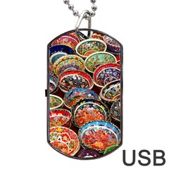 Art Background Bowl Ceramic Color Dog Tag Usb Flash (one Side) by Simbadda