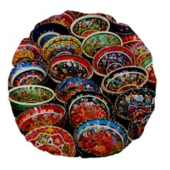 Art Background Bowl Ceramic Color Large 18  Premium Round Cushions by Simbadda