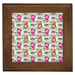 Floral Flower Pattern Seamless Framed Tiles by Simbadda
