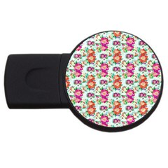 Floral Flower Pattern Seamless Usb Flash Drive Round (4 Gb)