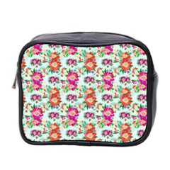 Floral Flower Pattern Seamless Mini Toiletries Bag 2 Side by Simbadda