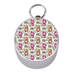Floral Flower Pattern Seamless Mini Silver Compasses by Simbadda