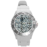 Abstract Flower Petals Floral Round Plastic Sport Watch (L) Front