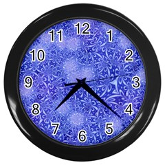 Retro Flower Pattern Design Batik Wall Clocks (black) by Simbadda