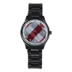 Textile Geometric Retro Pattern Stainless Steel Round Watch