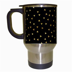 Grunge Retro Pattern Black Triangles Travel Mugs (white) by Simbadda