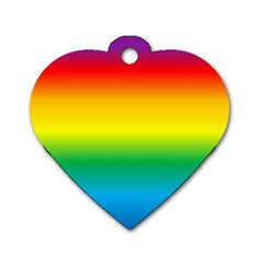 Rainbow Background Colourful Dog Tag Heart (two Sides)