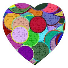 Dots Circles Colorful Unique Jigsaw Puzzle (heart) by Simbadda