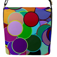 Dots Circles Colorful Unique Flap Messenger Bag (s) by Simbadda