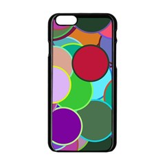 Dots Circles Colorful Unique Apple Iphone 6/6s Black Enamel Case