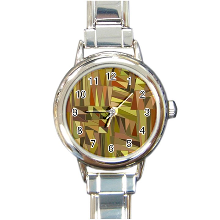 Earth Tones Geometric Shapes Unique Round Italian Charm Watch