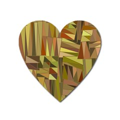 Earth Tones Geometric Shapes Unique Heart Magnet by Simbadda
