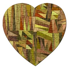 Earth Tones Geometric Shapes Unique Jigsaw Puzzle (heart) by Simbadda