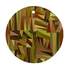 Earth Tones Geometric Shapes Unique Round Ornament (two Sides) by Simbadda