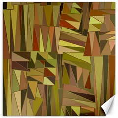 Earth Tones Geometric Shapes Unique Canvas 12  X 12   by Simbadda