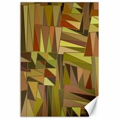 Earth Tones Geometric Shapes Unique Canvas 12  X 18   by Simbadda