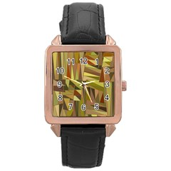 Earth Tones Geometric Shapes Unique Rose Gold Leather Watch