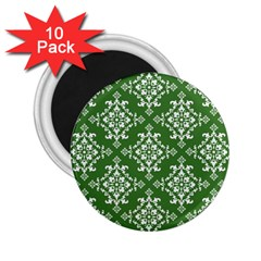 St Patrick S Day Damask Vintage Green Background Pattern 2 25  Magnets (10 Pack)  by Simbadda