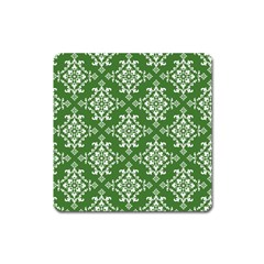 St Patrick S Day Damask Vintage Green Background Pattern Square Magnet by Simbadda