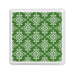St Patrick S Day Damask Vintage Green Background Pattern Memory Card Reader (square)  by Simbadda
