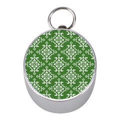 St Patrick S Day Damask Vintage Green Background Pattern Mini Silver Compasses