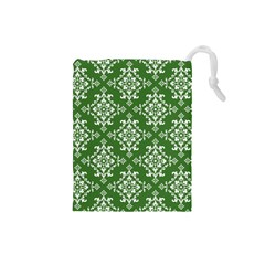 St Patrick S Day Damask Vintage Green Background Pattern Drawstring Pouches (small)  by Simbadda