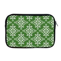 St Patrick S Day Damask Vintage Green Background Pattern Apple Macbook Pro 17  Zipper Case by Simbadda