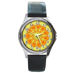 Sunshine Sunny Sun Abstract Yellow Round Metal Watch