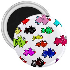 Fishes Marine Life Swimming Water 3  Magnets by Simbadda