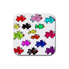 Fishes Marine Life Swimming Water Rubber Coaster (square)  by Simbadda