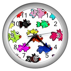 Fishes Marine Life Swimming Water Wall Clocks (silver)