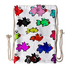 Fishes Marine Life Swimming Water Drawstring Bag (large)