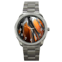 Fractal Structure Mathematics Sport Metal Watch by Simbadda