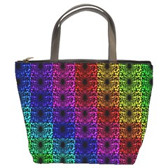 Rainbow Grid Form Abstract Bucket Bags by Simbadda