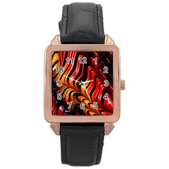 Fractal Mathematics Abstract Rose Gold Leather Watch  by Simbadda