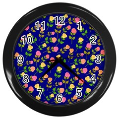 Flowers Roses Floral Flowery Blue Background Wall Clocks (black)
