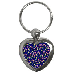 Flowers Roses Floral Flowery Blue Background Key Chains (heart)