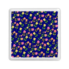 Flowers Roses Floral Flowery Blue Background Memory Card Reader (square)