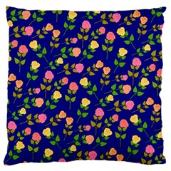 Flowers Roses Floral Flowery Blue Background Large Cushion Case (two Sides) by Simbadda