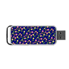 Flowers Roses Floral Flowery Blue Background Portable Usb Flash (one Side) by Simbadda
