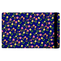 Flowers Roses Floral Flowery Blue Background Apple Ipad 2 Flip Case