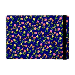 Flowers Roses Floral Flowery Blue Background Apple Ipad Mini Flip Case by Simbadda